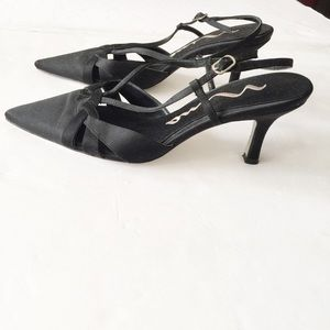 Nina Slingback Pointy Toe Pumps Sandals Satin